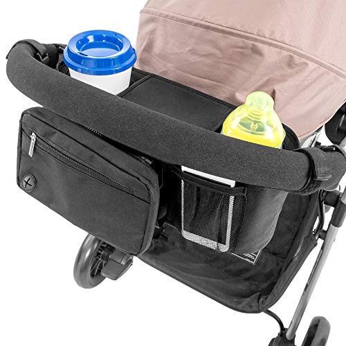 Lusso Gear Stroller Organizer With Cup Holders - Fits All Strollers, Stroller Accessory for Baby Storage On the Go, Stroller Caddy With Multiple Storage Sections, Secure Fit Won't Slip or Slide