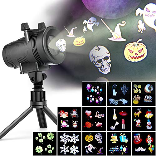 LED Projector Lights with 12 Switchable Patterns for Christmas, Ominilight Waterproof Magicfly Rotating Spotlight for Holiday, Thanksgiving, Birthday, Party, Indoor and Outdoor Decoration Easter Day