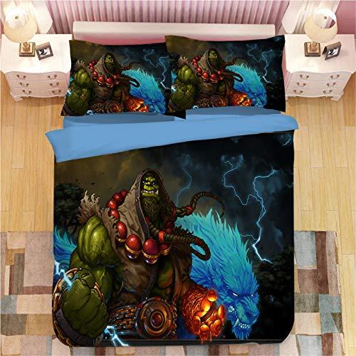 XKNSYMRL Colchas 150X190, Mundo De Warcraft Impresión Digital 3D Nordico Cama 150, Premium Poliéster Microfibra Conjuntos De Ropa De Cama con Cremallera Oculta, para Niños Muchachos (150X200Cm)