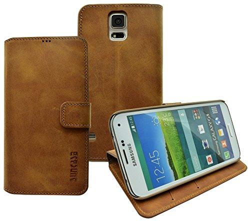 Book-Style Ledertasche Tasche für Samsung Galaxy S5 *ECHT LEDER* Handytasche Case Etui Hülle (Original Suncase) in antik - cognac