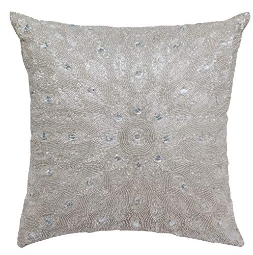Hand Beaded Decorative Pillow Cover -16x16 Inch - Silver, Decorative Cushion Cover, Handmade by Skilled Artisans, A Beautiful and Elegant Accessory to Dress up Your Couch, Sofa and Bed - Only Cover