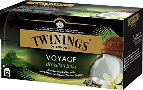 Twinings Voyage - Brazilian Baia - Tè nero Aromatizzato con Vaniglia, Noce di Cocco e Semi di Cacao - Sapore Dolce e Vellutato - Richiama alla Mente le Paradisiache Atmosfere Brasiliane (25 Bustine)