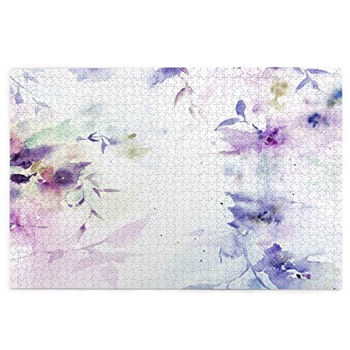 Yoliveya 1000 Stück Puzzle,Hochzeitseinladung Blumenmuster Aquarellstrauß,Bild Puzzle Spiele für Erwachsene und Kinder Familie Hochzeit Abschlussgeschenk