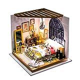 FZ FUTURE Kit de poupée en Bois Miniatures, kit de bâtiment de Maison en 3D Mini Mini-Maison, Assemblage Villa bâtiment modèle Meilleur Cadeau pour Adultes et Adolescents,Alice's Dreamy Bedroom