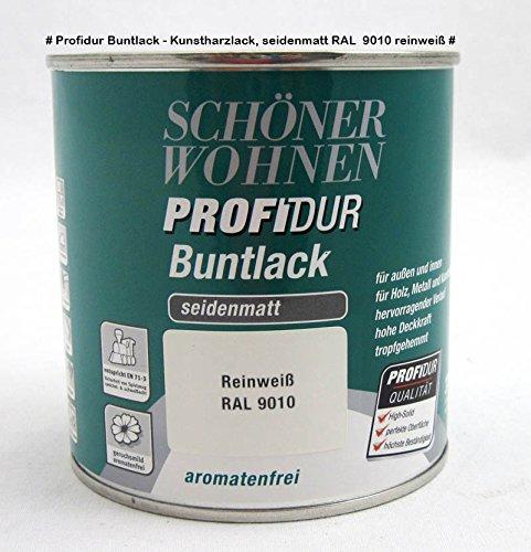 Profidur Buntlack - Kunstharzlack, seidenmatt RAL 9010 reinweiß 0,375 l
