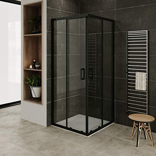 MOG Mampara de Ducha con plato de ducha 80x80 cm altura: 190 cm con puertas correderas de esquina con perfiles negros 6mm Vidrio...
