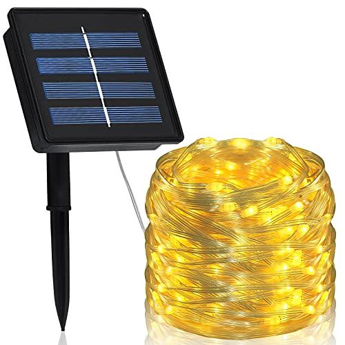 Solar Lichterkette Aussen, Hystun Lichterschlauch Aussen 20m 200LED Solar Led Schlauch Außen 8 Modi Wasserdicht PVC Solarlichterkette für Garten, Balkon, Weihnachten, Hochzeiten, Party (Warmweiß)