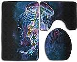 Watercolor Space CatInstrument Trompeta Juego de 3 alfombras de baño antideslizantes, extra suaves, resistentes, absorbentes, lavables, en forma de U