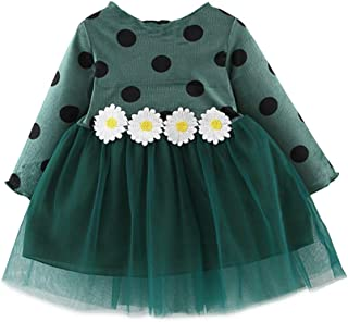 Xifamniy Infant Girls Long Sleeve Skirt Cute Dot Print Knit Round Neck Tulle Dress