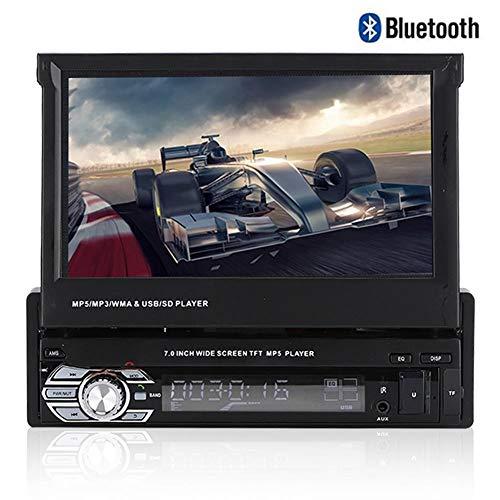 Garsent autoradio met Bluetooth handsfree functie, 7 inch touchscreen, auto MP3 MP5 speler media-receiver ondersteuning RDS, SD, USB, AUX, voor- en achteruitrijcamera en afstandsbediening op het stuur