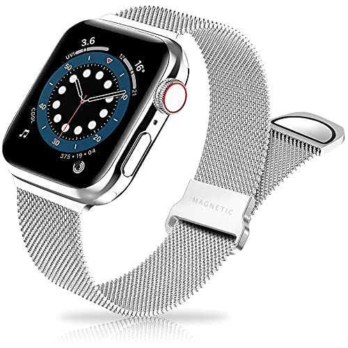 Metal Band Stainless Steel Mesh Magnetic Compatible with Apple Watch Bands 38mm 40mm 42mm 44mm, Milanese Sport Clasp Loop Women Men Compatible for iWatch Series SE/6/5/4/3/2/1 Silver