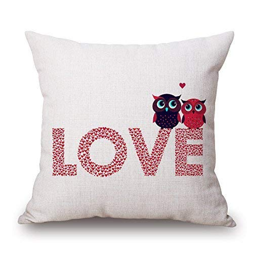 N/C Popular Romantic Cotton Linen Square Throw Pillow Case Decorative Cushion Cover Pillowcase for Room Sofa Cute Cartoon Owl 18 x 18 Inch-Love with Lover Owl