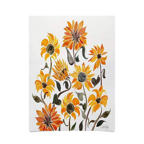 Society6 Cat Coquillette Sunflower Watercolor Yellow Poster, 18x24