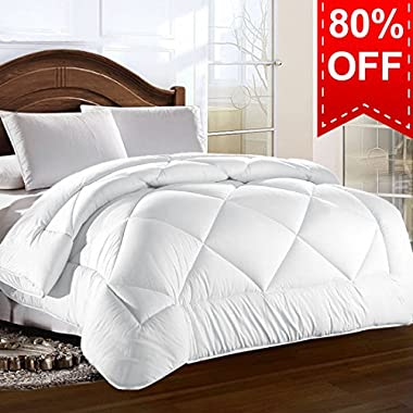 Queen Comforter Duvet Insert with Corner Tabs for Duvet Cover Summer Cooling 2100 Series, Snow Goose Down Alternative, Hotel Collection Reversible, Hypoallergenic Choice, Snow White, 88 by 88 inches