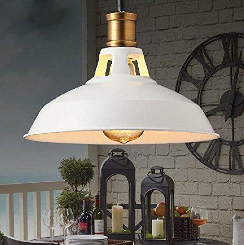 Sursy restaurant lustre, american industrial wind, pot lustre, fer bouton type simple lampe,270mm blanc
