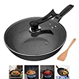 Frying Pan with Lid, Nonstick Saute Pan with Cover Omelet Pan Frying Pan Healthy PFOA-Free Less Fumes Environmental Protection Maifan Stone,30CM