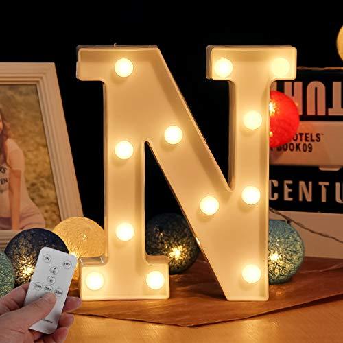 LED Buchstabe Lichter Alphabet LED Brief Licht Alphabet Zeichen mit drahtloser Timer Fernbedienung Dimmable Led dekoration für Geburtstag Party Hochzeit & Urlaub Haus Bar (Buchstabe N)