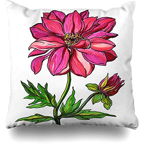 QDAS Kissenbezug Botanical Brazil Red Passion Hawaiianische Dahlie Blumenblüte Aquarell Natur Orange Lily Bali Dekorative Kissenhülle Square Home Decor Kissenbezug