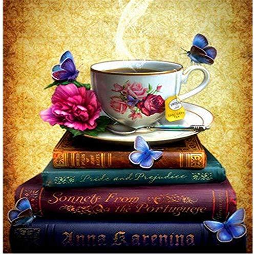 Yingxin34 300 Piezas de Rompecabezas Adultos Rompecabezas Taza de café en el Libro difícil para Adultos Adolescentes patrón de duraderos desafiantes Rompecabezas Juego Educativo Juguete