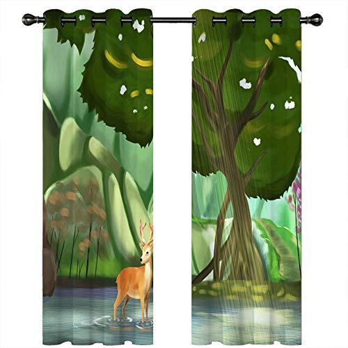 AMDXD Cortinas Poliester Dormitorio, Cortinas de Ventana de Cocina Arboles Ciervo Comedor Decoración (2 Paneles, Verde Marrón, Tamaños 214x274CM)