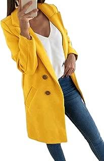Macondoo Women's Outwear Wool Blended Single Breasted Fall Winter Pea Coat Jacket