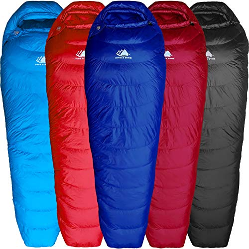 Hyke & Byke Shavano 0 Grad C Schlafsack Leicht – 3-Jahreszeiten-Daunenschlafsack unter 1 kg – Der Ultraleicht Schlaf-Sack für Wanderungen und Camping – Schlafsack Kleines Packmaß