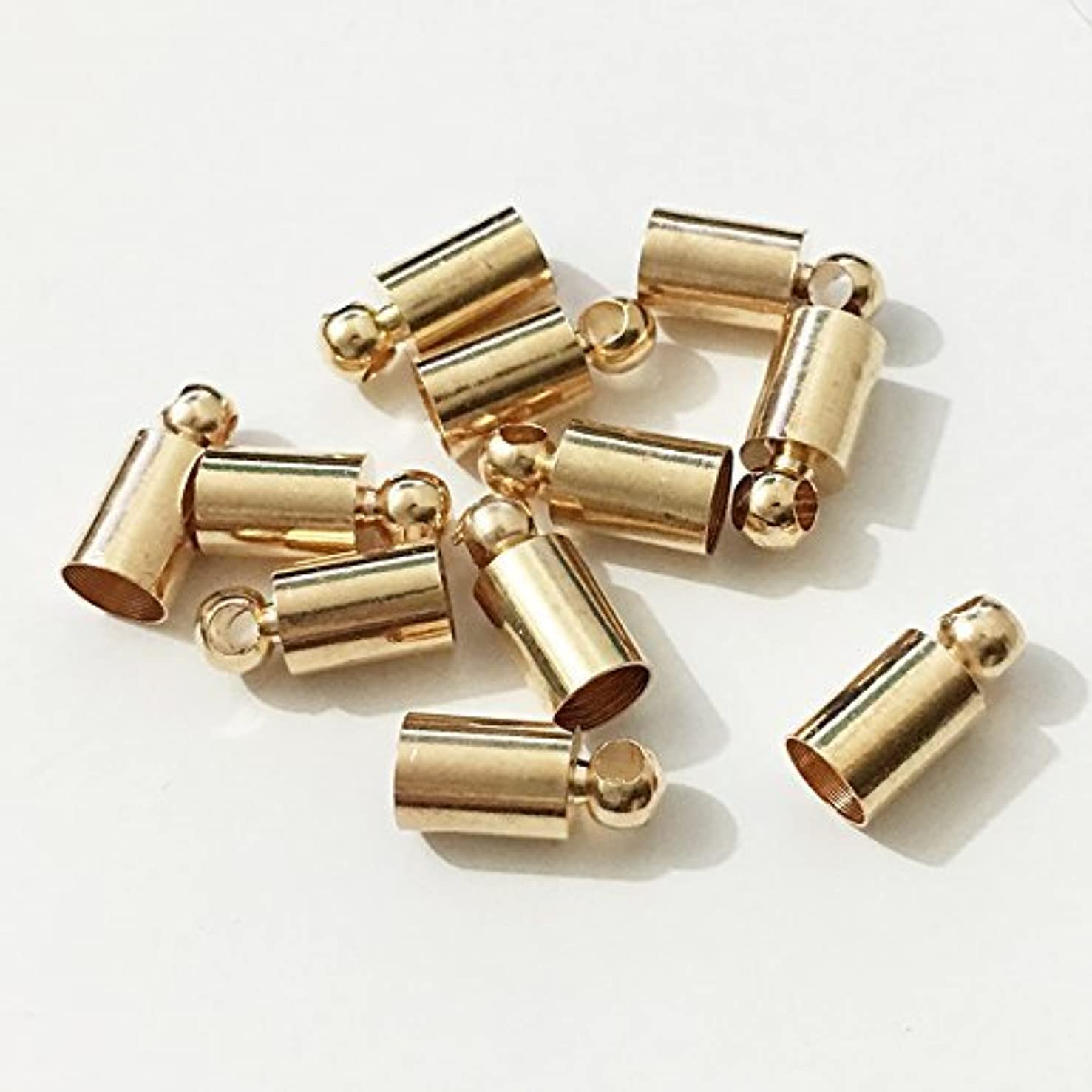 50pcs Glue-in Style Necklace Cord Crimp End Caps Tassel caps Beads crimps end (4mm Wide, 9mm Long, KC Gold Plated)
