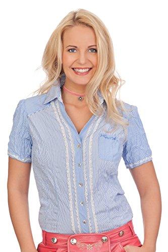 Spieth & Wensky Trachten Bluse Crashoptik, kurzer Arm - BELAU - hellblau, Größe 34