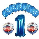 ENXI Globos Mcqueen Ellos 1 Set Autos Lightning 32 Pulgadas Números Balloon Set 13pcs / Set Movilización de automóviles Baby Boy Cumpleaños Fiesta de decoración Suministros ( Color : Deep Sapphire )