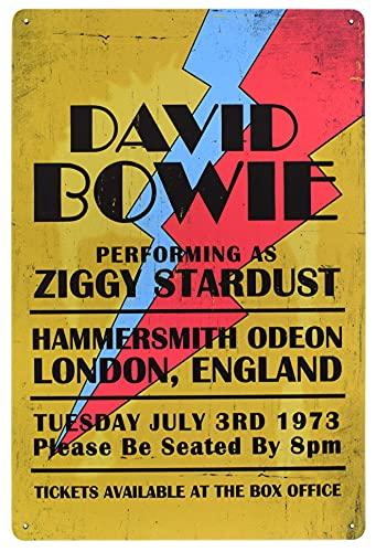 Karmour Accessories Konzert- und Bandposter, Blechschild, A4, Schilder für Studios, Büro, Garage, Männerhöhlen (David Bowie)
