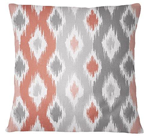 s4sassy funda de almohada decorativo Rust Naranja manta cuadrado sofá funda de cojín Ikat impresión–elegir tamaño, lona, Rust Orange, 12 x 12 Inches