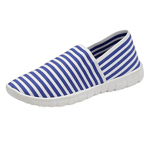Damen Memory Foam ohne Bügel Espadrille Leinen Turnschuhe Sportschuhe Turnschuhe Go Schuhe Size 3-8 - Blau Weiss Gestreift, 7 UK