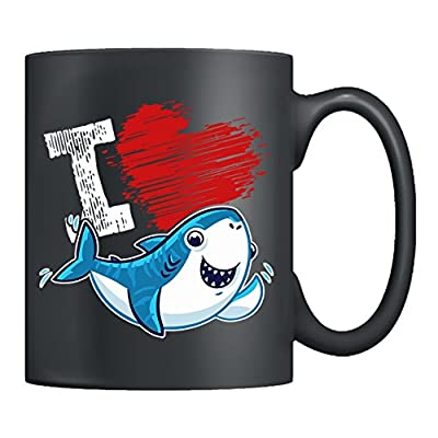 Shark Ceramic Mug - I Love Sharks Teacup, Black Coffee Mug