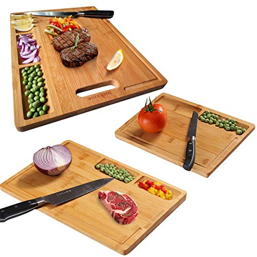 3pcs Organic Bamboo Cutting Board For Kitchen, With Built-In Compartments And Juice Grooves, Heavy Duty Chopping Board For Meats Bread Fruits, Butcher Block, Carving Board, BPA Free