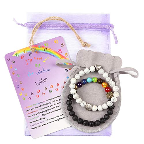 Pet Memorial Bracelet Gift - White Black 2pcs Loss of Pet Gifts with Rainbow Bridge Card Sympathy Gifts for Your Beloved Pet Dog Cat