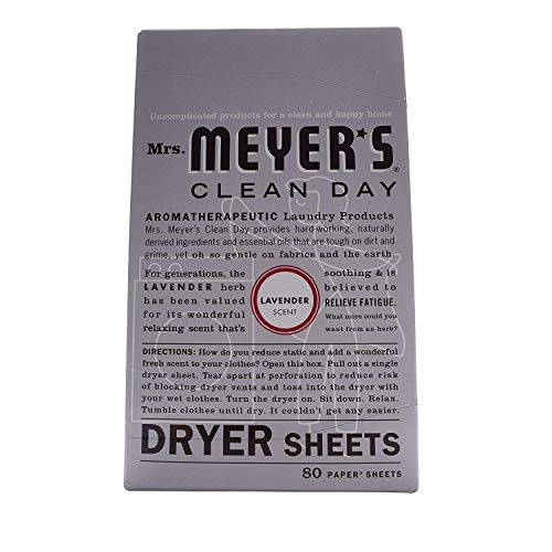 Mrs. Meyer's Clean Day Dryer Sheets, Lavender, 80 ct (2 Pack), White