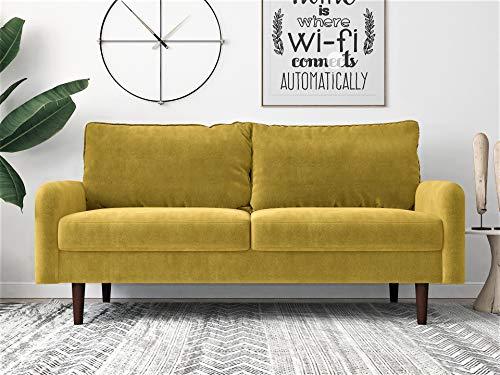 Container Furniture Direct Americus Ultra Modern Velvet Upholstered Living Room Sofa, 71.6', Golden Yellow