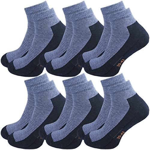 GAWILO Sport Sneaker Socken (6er-Pack) (39-42, jeans)