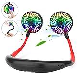 AngLink Ventilador Cuello con Botones, Ventilador Portatil, USB Recargable Mini Ventilador de Manos Libres, 3 velocidades, rotación Libre de 360 °, luz LED, para Mascotas Viajes