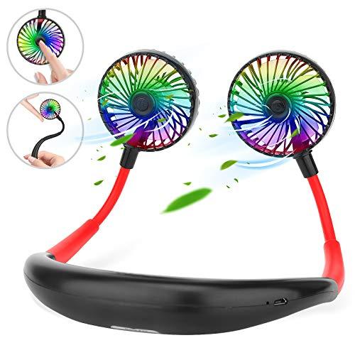 AngLink Ventilatore Portatile, Indossabile da Collo Ricaricabile Mini USB Ventilatore, 360 ° regolabile Ventilatore Personale per Ufficio, Casa, Aria Aperta, Viaggi, Sport, ECC