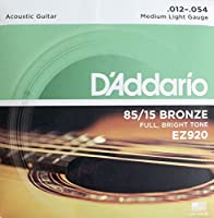 D'Addario ダダリオ アコースティックギター弦 85/15アメリカンブロンズ Medium Light .012-.054 EZ920 【国内正規品】