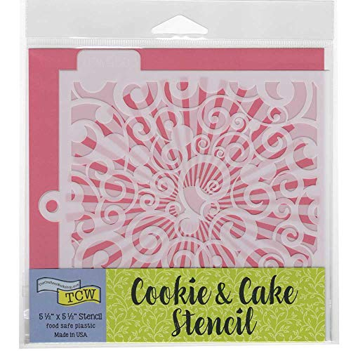 Crafter's Workshop Cookie Stencil 2 Pack, 10 Mil Food Safe Templates for Decorating and Baking, TCW5003 Swirls and TCW5018 Sunburst