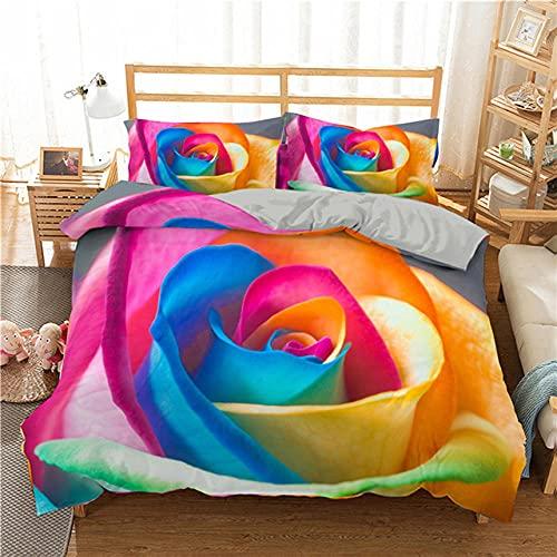 2/3 Unids 3D Arco Iris Colorido Rosa Flor Impresión Funda de Almohada Funda de Edredón Juego de Cama de Boda Colcha Ropa de Cama-135X200cm*1,50x75cm*1