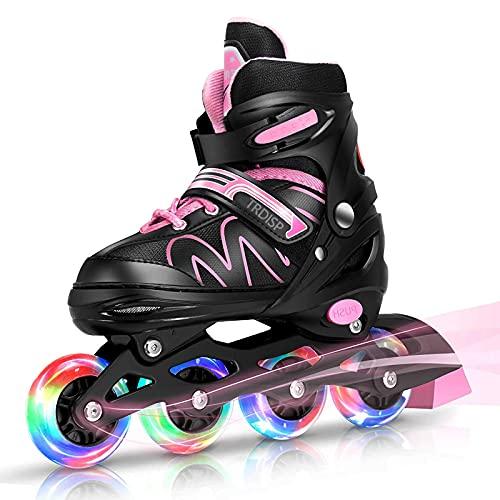 Inliner Kinder, ABEC-7 Chrome Kugellager Einstellbare Unisex Fitness Inline-Skates für Erwachsene Anfänger mädchen Jungen Kinder Herren Damen (Rosa, L (37-42))