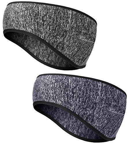Linlook Winter Headband Ear Warmer - 2 Pack Warm Cozy Fleece Stretchy Ear Muff with Full Cover for Outdoor Sports, Running, Hiking, Cycling, Tennis, Jogging (Colour 6)