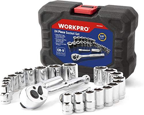 """WORKPRO 24 Piezas- Juego de llaves de vaso con carraca de 3/8 """", Juego de Llaves de Vaso Cr-V, incluye Llave de Trinquete,Ideal para bricolaje, reparación de automóviles"""