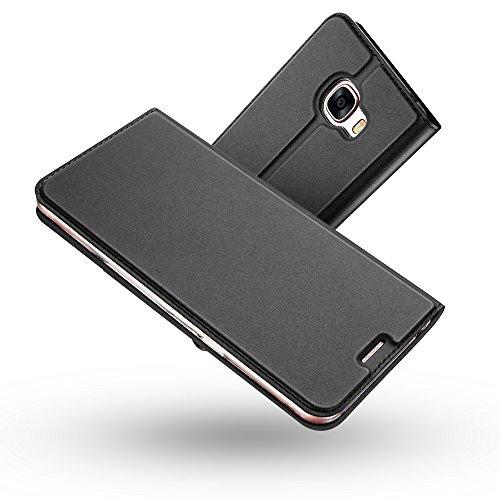 Radoo Galaxy A3 2017 Hülle, Premium PU Leder Handyhülle Brieftasche-stil Magnetisch Folio Flip Klapphülle Etui Brieftasche Hülle Schutzhülle Tasche Hülle Cover für Samsung Galaxy A3 2017 (Schwarz grau)