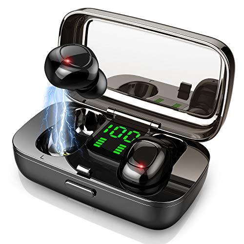 Bluetooth Kopfhörer, Bluetooth Kopfhörer in Ear, 3D Stereo Sound IPX7 Wasserdicht Kopfhörer Kabellos Sport Bluetooth 5.0 Headset mit Miniladekästchen und Mikrofon, LED-Anzeige & Touch Control