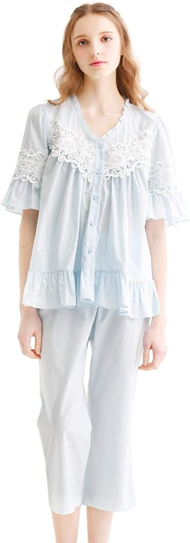 Sweet princess pajamas set female retro lace home clothing cotton ( color   bluee , Size   L )