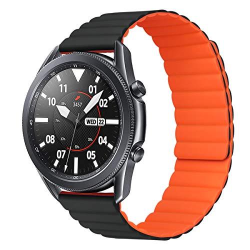 MroTech Compatibile con Huawei Watch GT 2 46 mm/GT 2e/GT2 PRO Cinturino 22 mm Silicone de Ricambio per Samsung Galaxy Watch 3 45mm/Gear S3 Frontier/Galaxy 46mm Bracciale Fibbia Magnetica-Nero/Arancio